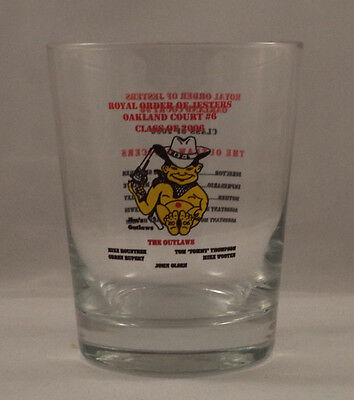 Royal Order of Jesters Old Fashion Glass Cowboy Outlaw Court 6 Freemason Masonic