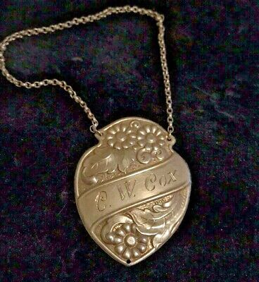 """830 Silver Bottle Tag Engraved """"C.W.Cox"""""""