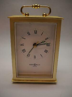 HOWARD MILLER Quartz BATTERY Carriage CLOCK Gold with GREEN Hand ACCENTS