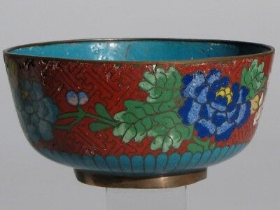Old Chinese Cloisonne Bowl Fine Detailed Floral Antique