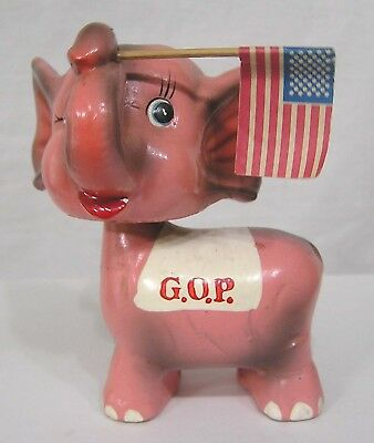 Vintage Political Pink Elephant NODDER Holds Flag Nixon Era 70s GOP Composition