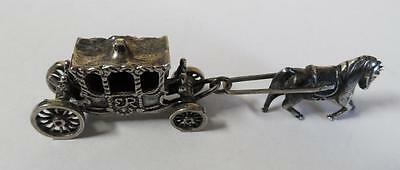 Antique Miniature Silver Coach Carriage With Horse And Coachmen !  #9