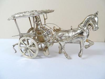 Antique Silver Coach Carriage With Horse And Rider ! #2