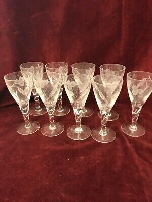 9 Pc Cordials  Vintage Etched Clear Crystal Stemware  Champagnes