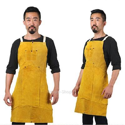 Protective Work Wear Coat Clothing Argon-arc Welding Leather Apron with Pocket