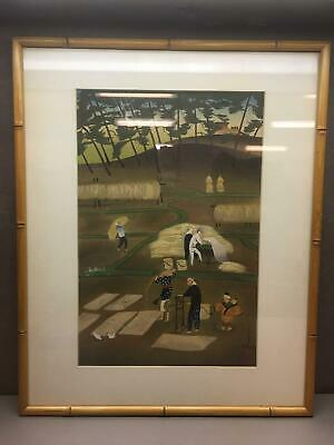 Signed Bakufu Ohno Original JAPANESE OBAN WOODBLOCK PRINT - Rice Reaping