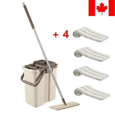 Self Cleaning Drying Wringing Mop Bucket System Flat Floor + 4 Microfiber Pads