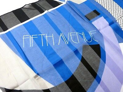 """Vintage Avon FIFTH AVENUE Scarf Blue Chiffon Made in Italy 34"""" x 34"""" 1986 Collec"""