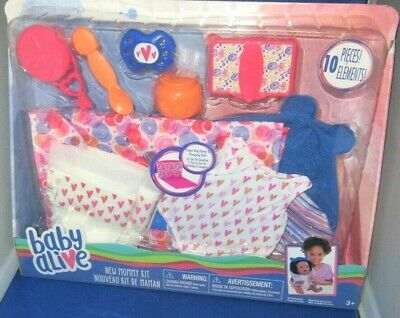 Baby Alive New Mommy Kit 10Pcs. Doll Fashion Diapers Baby Swaddle & Accessories