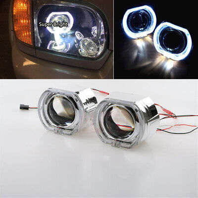 "2.5"" Auto HID Bi-Xenon Projektorlinse Quadrat LED Angel Eyes Tagfahrlicht LHD 2x"