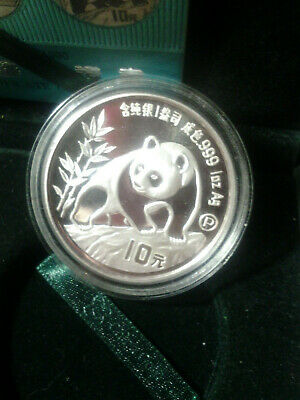 1990 Chinese Silver Panda 10 Yuan Gem Proof One Ounce Coin Certificate # 0005476