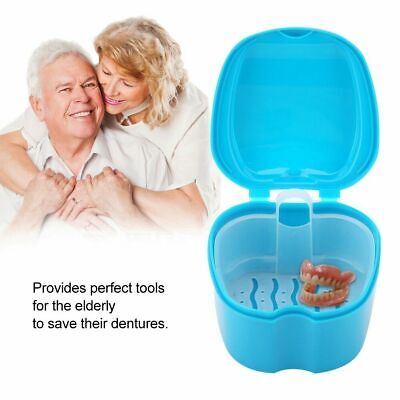 Denture Box Dental False Tooth Storage Bath Case with Hanging Net Container GL