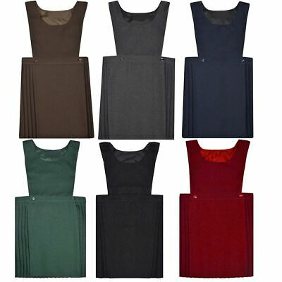 Childrens Sleeveless Pleated Pinafore Bib Dress Girls Kids School Uniform Dress