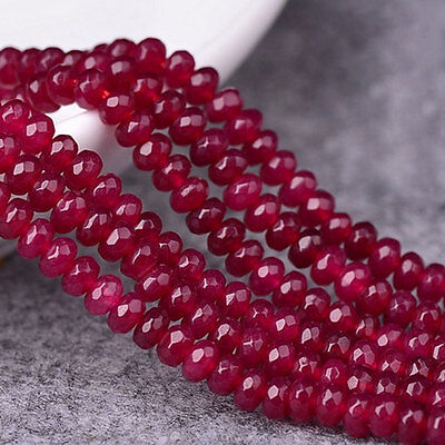 4MM 38.40cm Natural Brazilian Ruby Faceted Round Loose Bead Gemstone best
