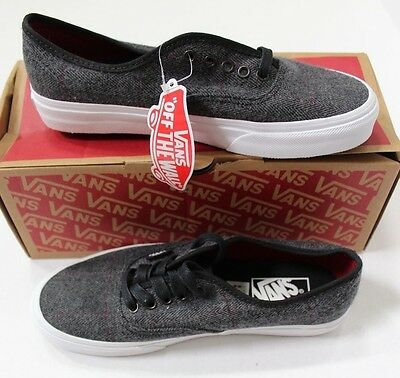 546c493144 Vans Off The Wall Authentic Tweed Skate Shoes Black True White Size M 6.5 W  8