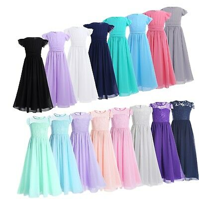 Kids Princess Chiffon Flower Girls Dress Junior Bridesmaid Wedding Pageant Prom