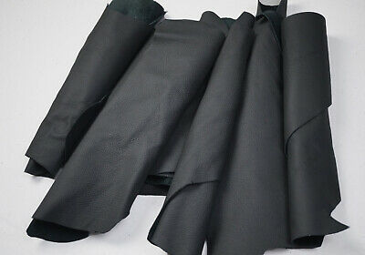 Dark Grey leather scraps Upholstery off-cuts Cowhide leather pieces | 2-3 Hands