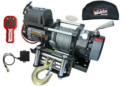 Warrior 4500 NINJA 12v Steel Rope Winch INC Wireless Remote & Waterproof Cover