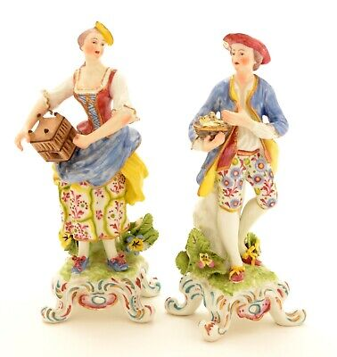 PAIR ANTIQUE FRENCH Edme Samson figures Porcelain Boy Girl with cage