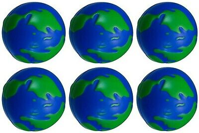6 x World Planet Earth Globe Squeeze Ball Hand Wrist Exercise Stress Relief Toy