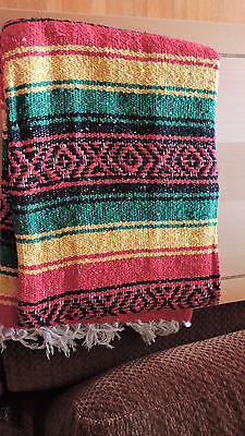 Mexican Falsa Blanket red green yellow & black Aztec lines Rasta white fringe XL