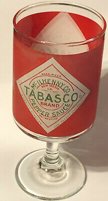 Vintage Tabasco McIlhenny Co Pepper Sauce Stem Bloody Mary Glass FREE SHIPPING