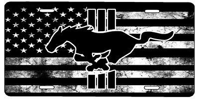 New Custom American Flag Black And White Ford Mustang Vanity License Plate