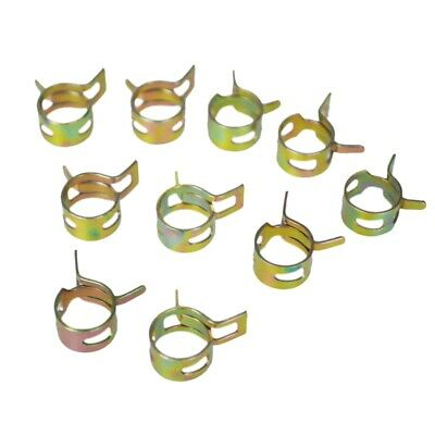 2X(10Pcs 11mm Spring Band Type Fuel Vacuum Hose Silicone Pipe Tube Clamp Clip 2M