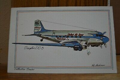 1973 Doublas DC-3 Artist Signed by Roy Andersen Collector Series Postcard