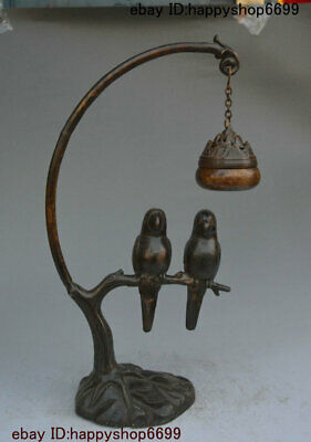 Ancient Chinese Bronze Gilt Double Bird Suspension Incense Burner Censer Statue