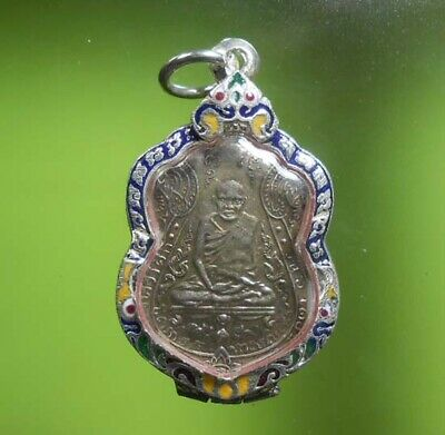 Real Antique Lp Eiam Old Thai Buddha Amulet Very Rare !!!
