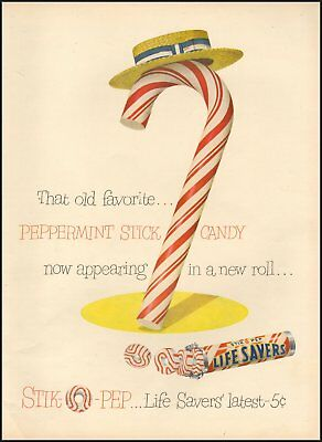 1950 Vintage ad for Life Savers`Stik o Pep Art Candy Cane Hat    112718)