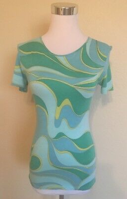 374665339a Nina Ricci Short Sleeve Top With Logo Signature Fabric Size 44 US Medium