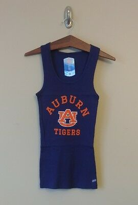 9f4192bdb1cf64 Auburn University Tigers Ribbed Cotton Tank Top Juniors M Soffe Navy Blue  Orange