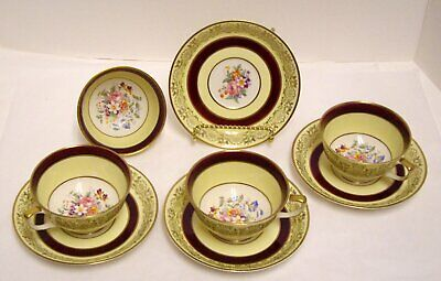 Johnson Brothers Pareek Footed Cups W Saucers JB311 Maroon Band England 4 Sets