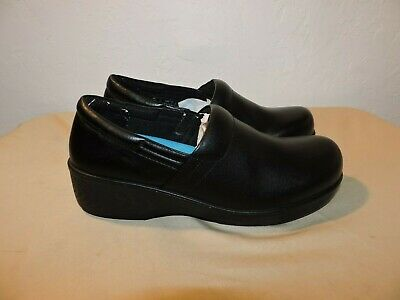 f7919bee50c7 DR SCHOLLS Womens Size 10 M Black Clogs Dynamo Leather Slip On Safety Work  Shoes