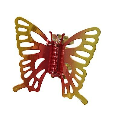Caravan Metal Butterfly Hand Painted Claw, Bright Rainbow Colors