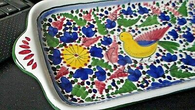 "Nova Deruta Ceramic Serving Tray BIRD/FLORA  Made in Italy 11"" X 5"" Hand Painted"