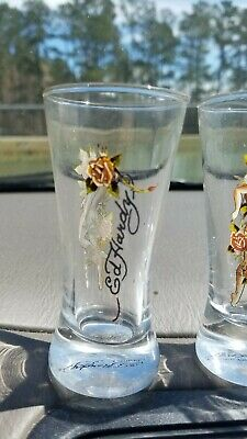 DON ED HARDY  Designs 2 FL OZ Tall Shooters Shot Glasses Set Of 3 Pin-up Girls