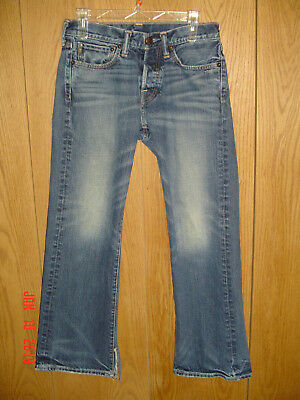 ABERCROMBIE & FITCH KILBURN LOW RISE BOOT Button Fly Blue Denim Tag 28x30 P8