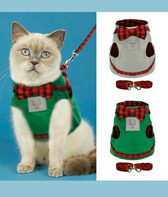 Tartan Dickie Bow Harness Coat + Leash for Cat Kitten Teacup Chihuahua Puppy Dog