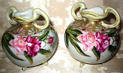 Outstanding 1800s Hand Painted Nippon Matching Footed Vases with a Floral Design