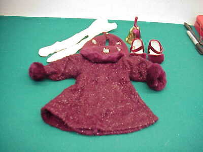 American girl sparkle dress maroon Winter metal snowflake shawl shoes bell preow