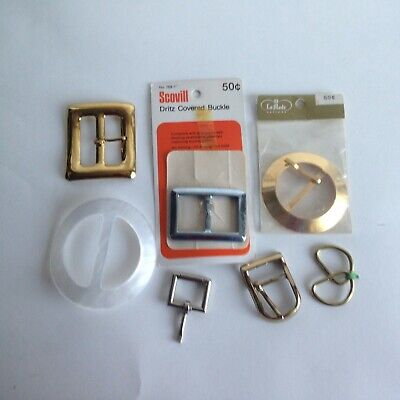 Lot Of 7 Vintage Ladies Belt Buckles Assortment Sewing Clothing Jewelry Making
