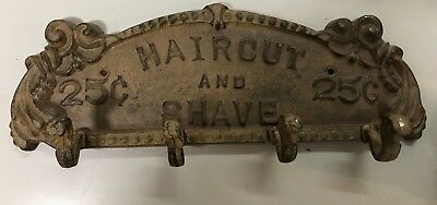 CAST IRON Hair cut & Shave 25C Home DECOR HOOK COAT TOWEL WALL HANGER 13""