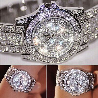 18k Shiny Iced Out White Gold Plated Hip Hop Bling Diamound Watches Uk Seller