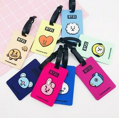 Kpop BTS BT21 Bangtan Boys JIMIN JUNKOOK V SUGA Silicone ID Card Holder Key Ring