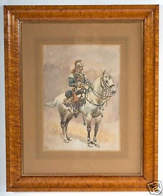"ANTIQUE French School Original W/C Painting c.1889, ""Uniformed Calvary Soldier"""