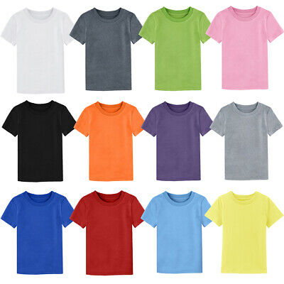 Baby Toddler Plain Blank T-shirts Kids Boys' Solid Top Girls' Heavy Cotton Tee