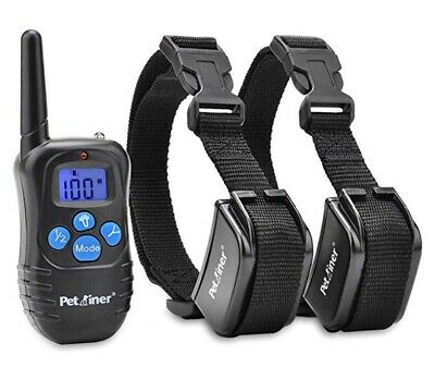 Petrainer Rechargeable And Water Resistant Shock Collar With Remote 1 For 2 Blue